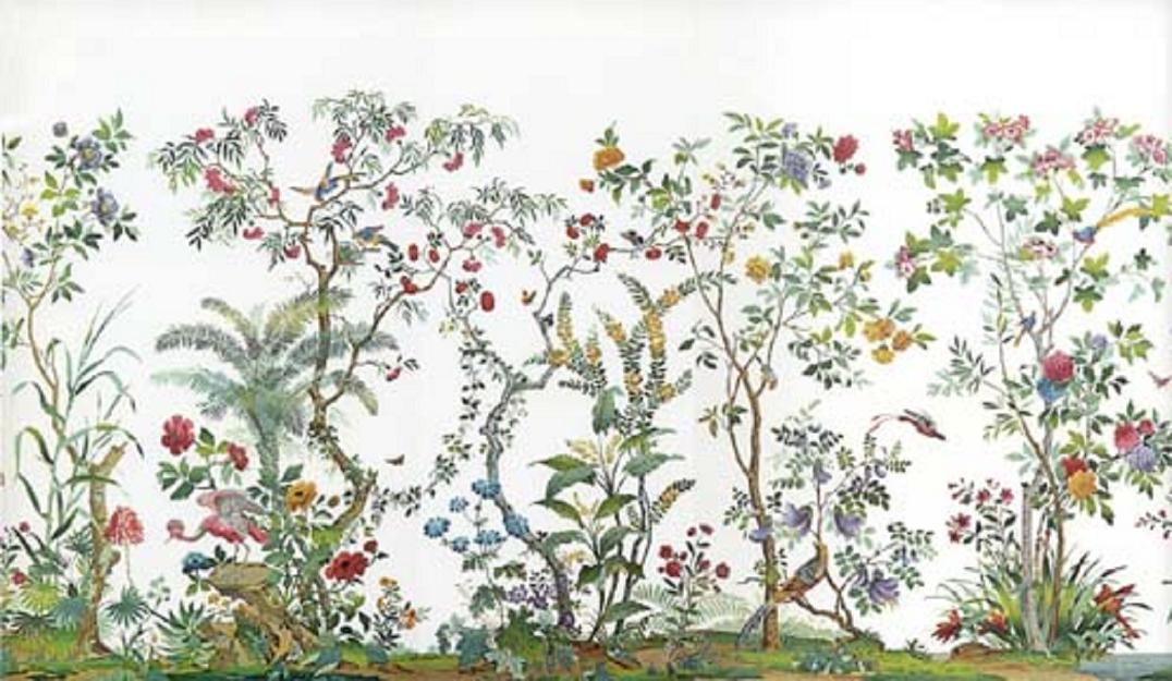 Details about Dollhouse Miniature Wallpaper Chinoiserie Garden Mural 1076x625