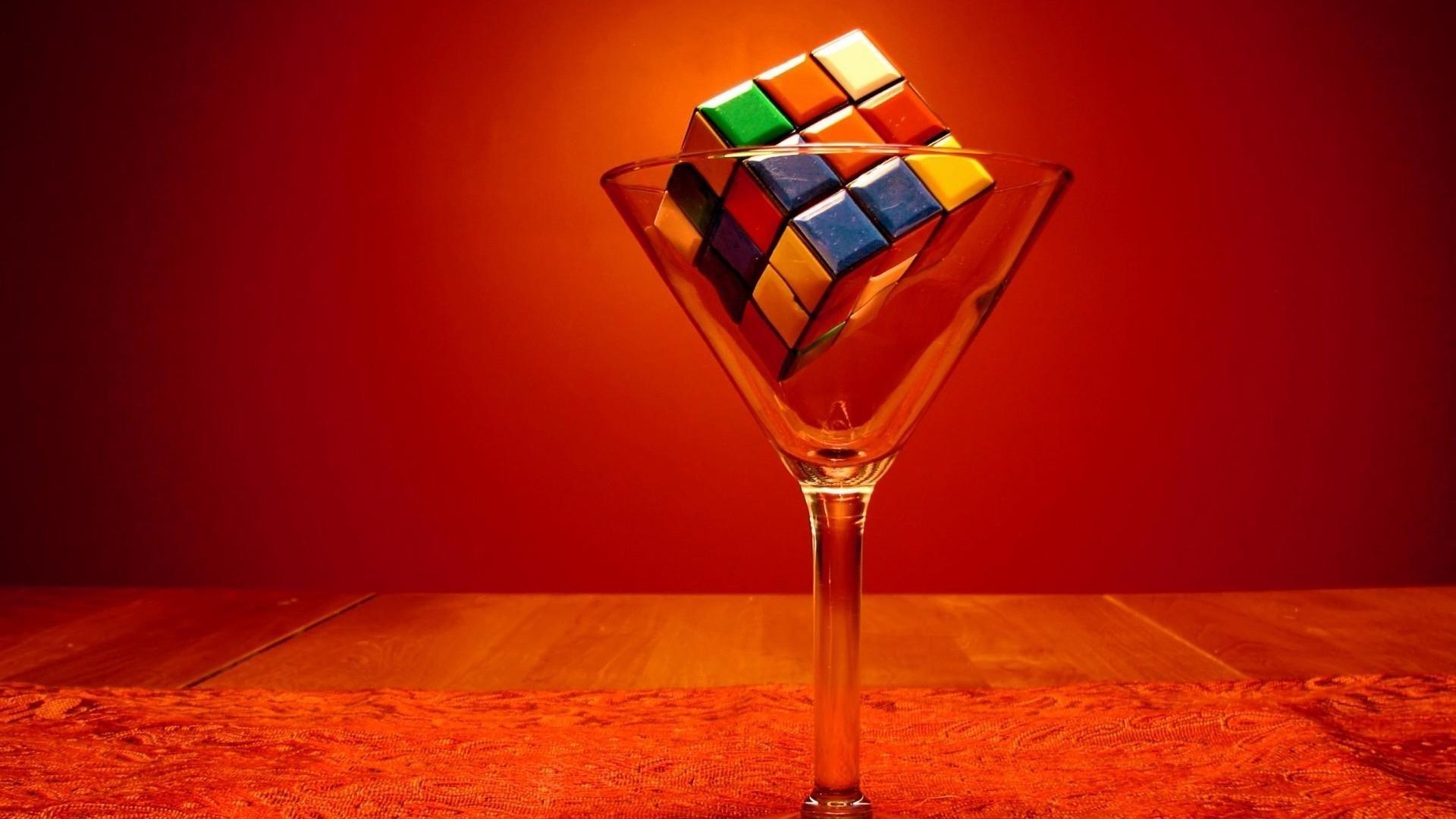 Rubiks cube in martini glass wallpaper   736776 1920x1080