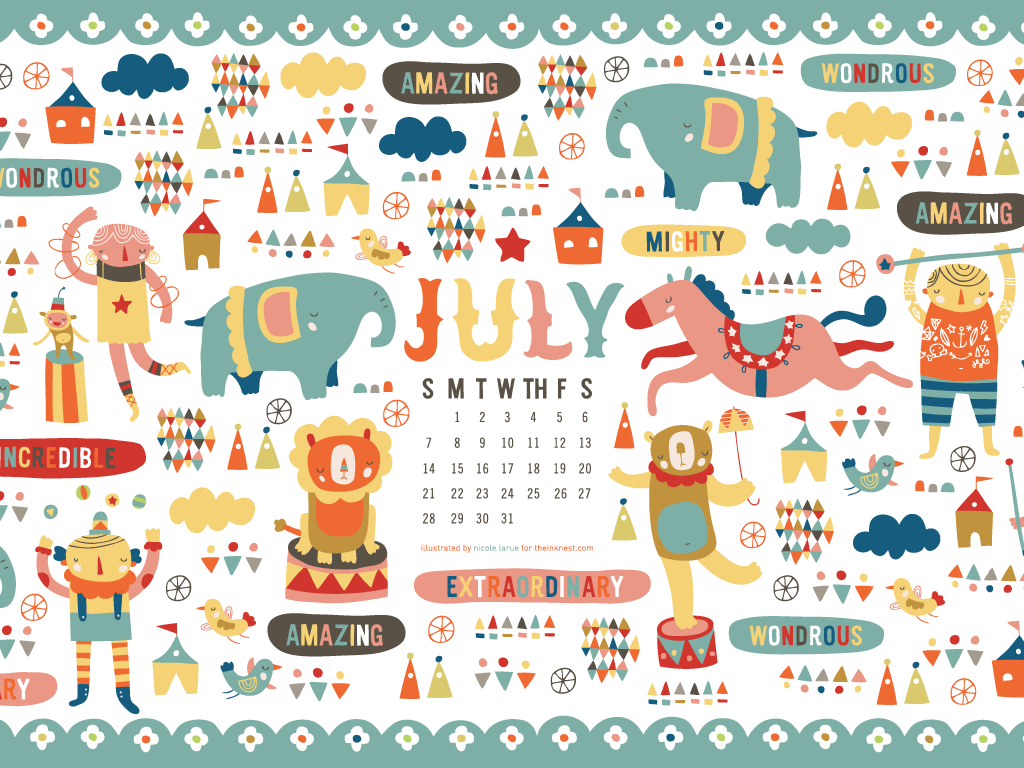 The July calendar by Nicole LaRue is richly illustrated and inspiring 1024x768