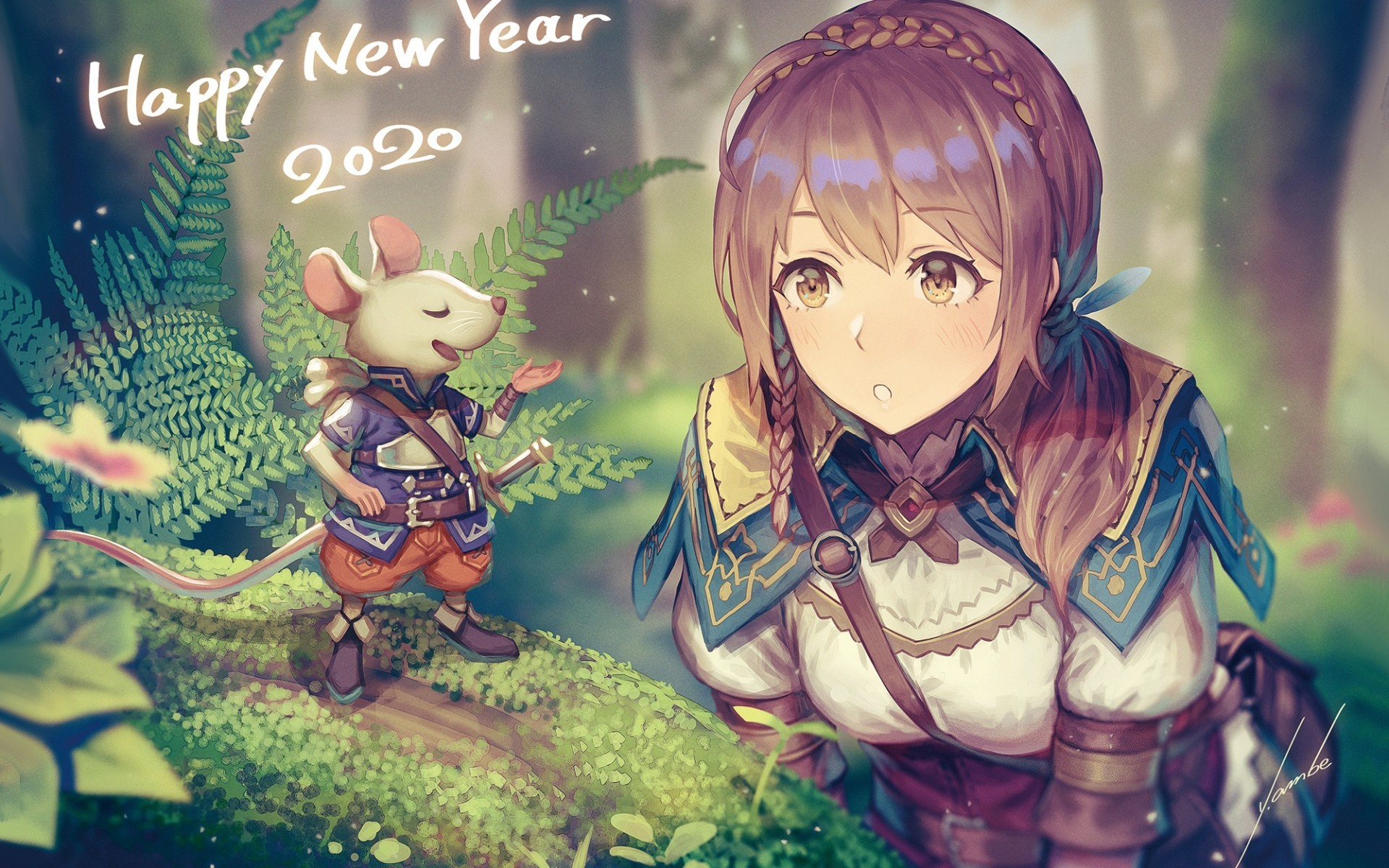 Download 1920x1200 Anime Girl Adventurer Forest Light Armor 1920x1200