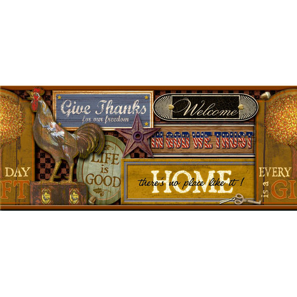 Brown Nostalgic Signs Border   Americana   Brewster Wallpaper 600x600