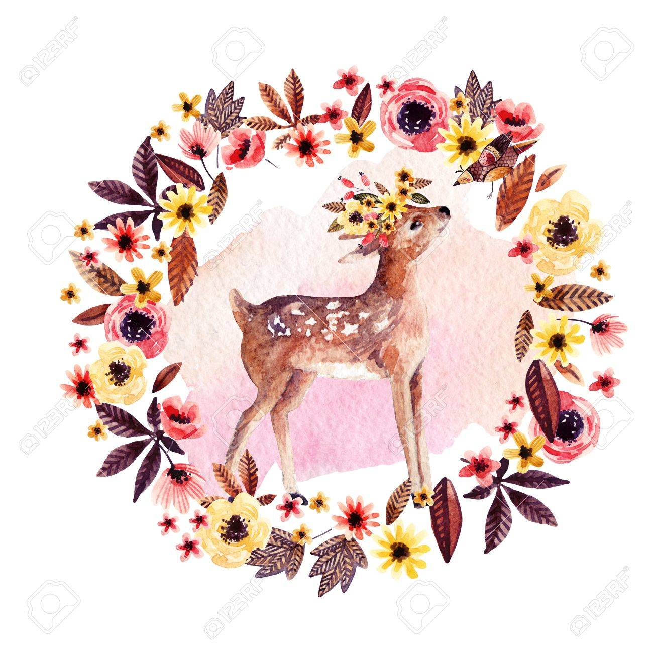 Watercolor Deer Fawn Among Flowers Isolated On White Background 1300x1300