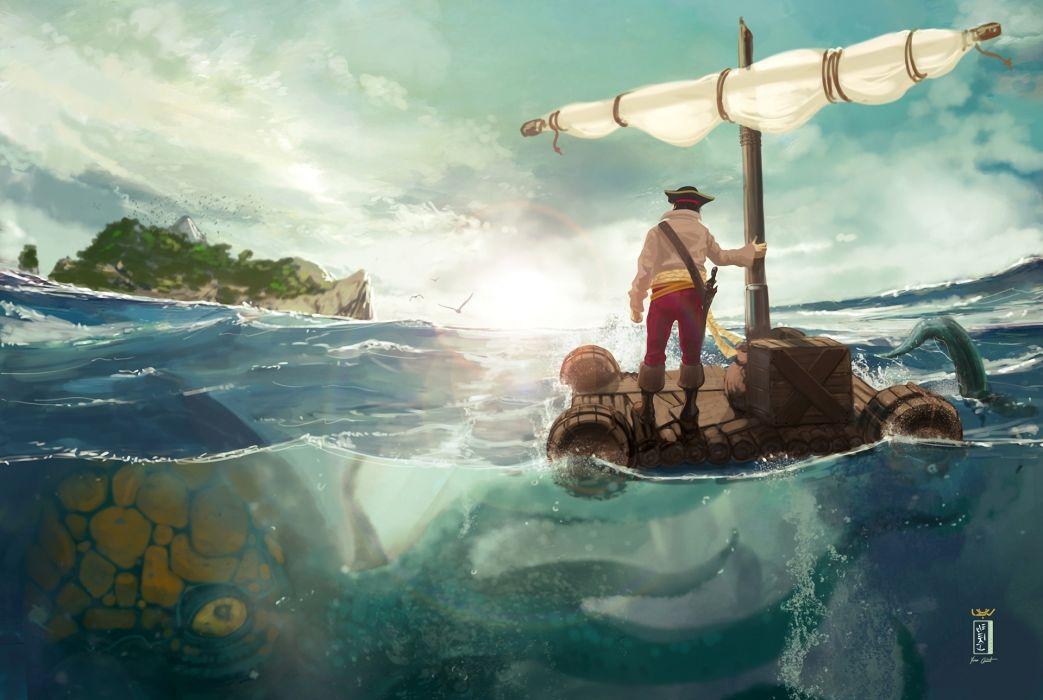 Art raft sea island man monster octopus danger wallpaper 1043x700