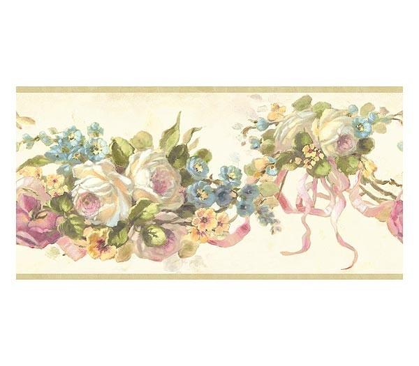 Beige Vintage Rose Swag Wallpaper Border 600x525