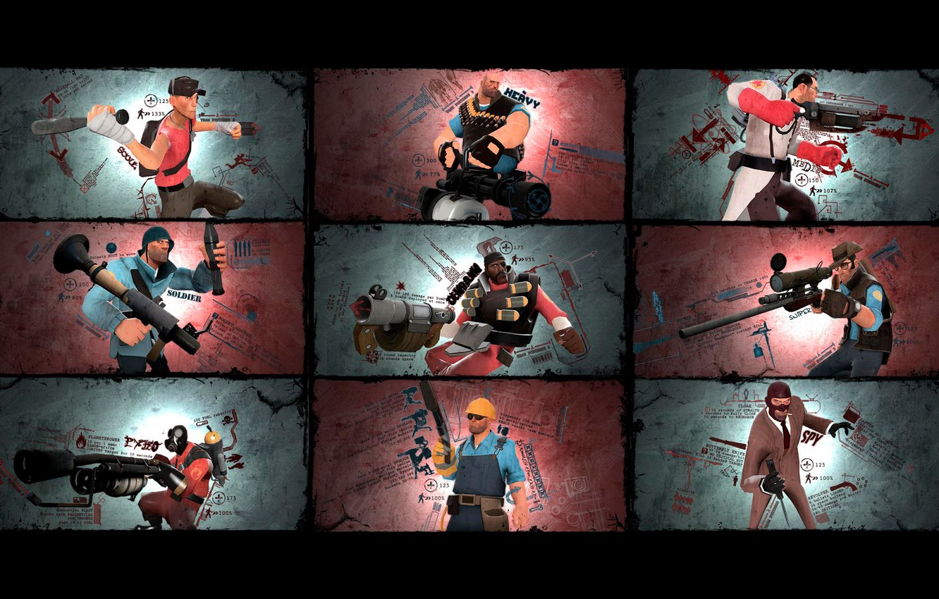 Wallpaper Soldiers Team Fortress 2 Medic characters Sniper 1332x850