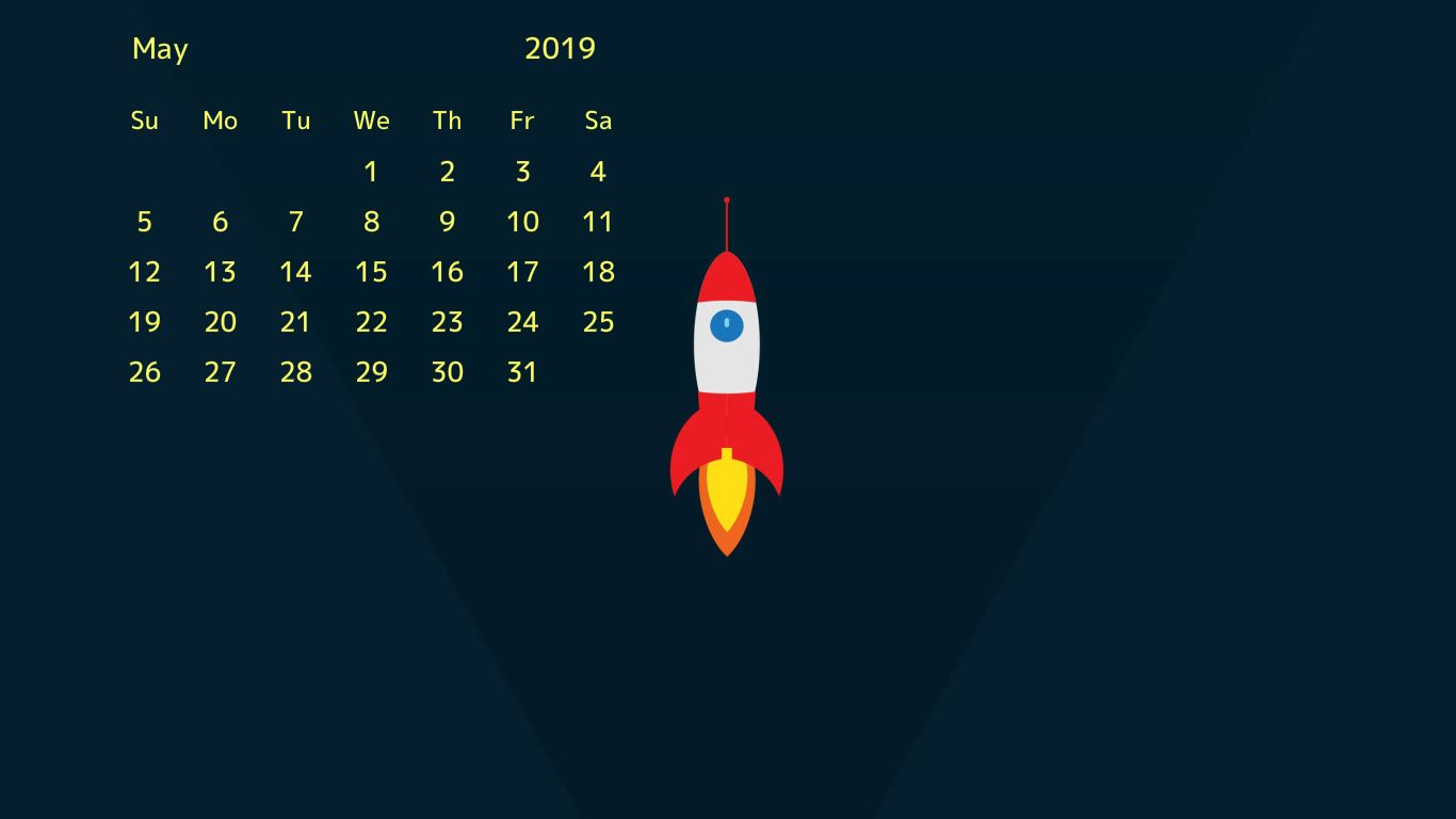 free may 2019 desktop wallpaper 2019 Calendars 2019 calendar 1366x768