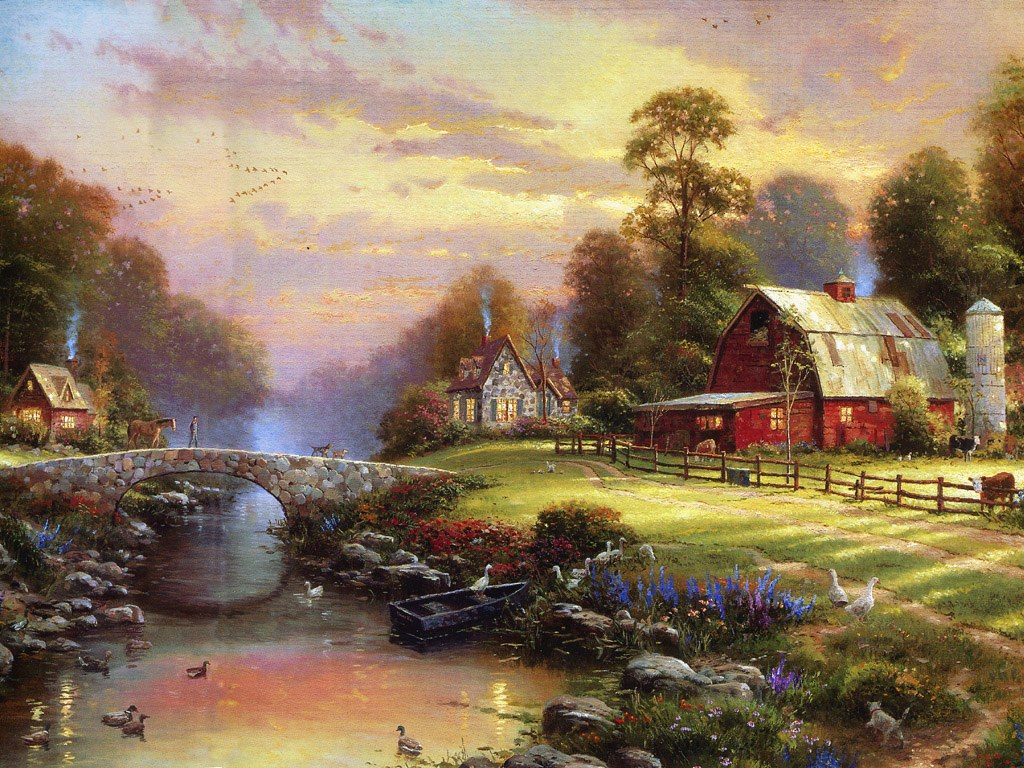 Wallpapers Photo Art Thomas Kinkade Wallpaper Art Wallpapers 1024x768