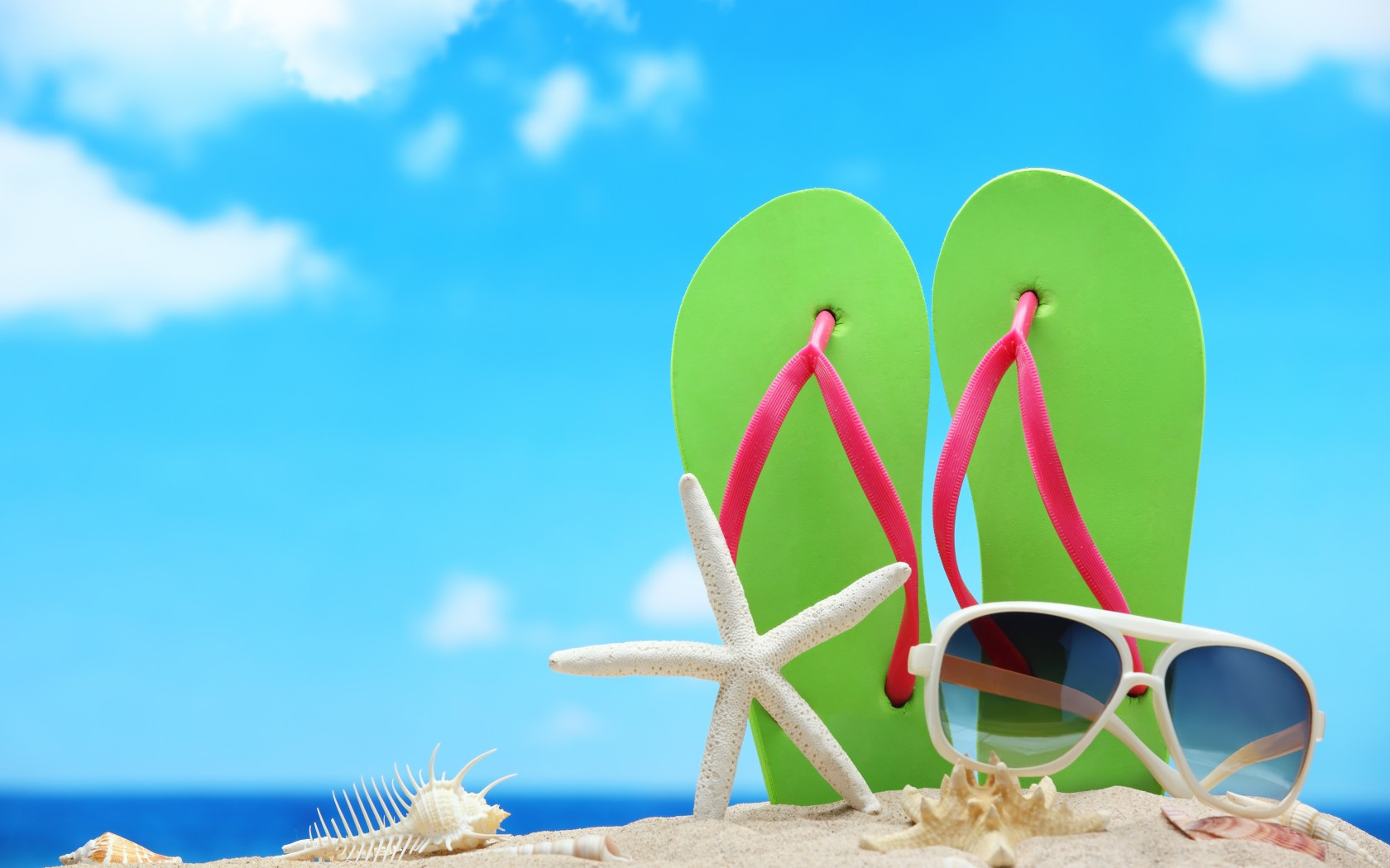 Flip Flops In Sand On Beach wallpaper by thunguyen102 1680x1050