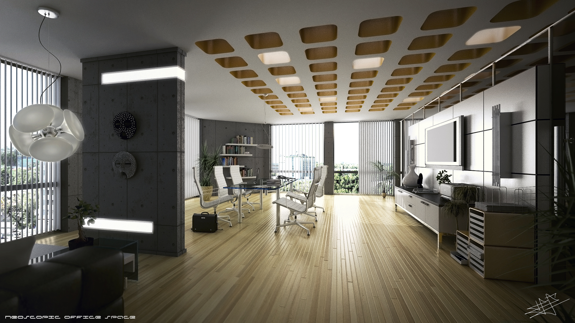3d office space wallpaper - Office