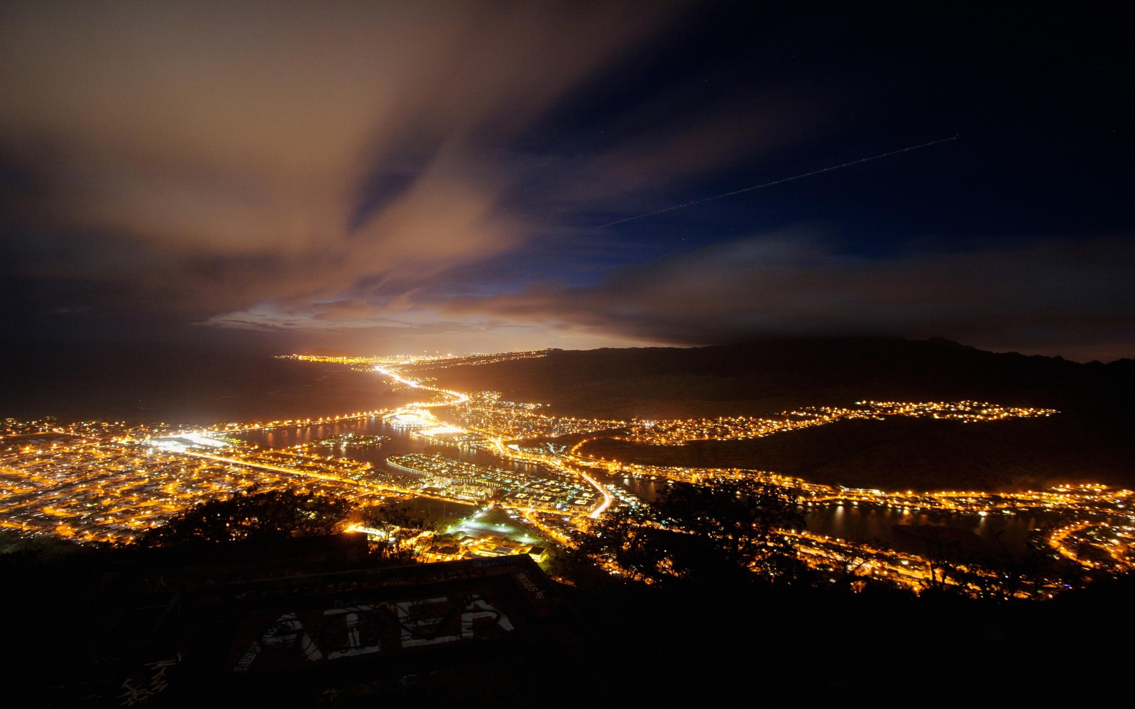 4k night sky wallpaper wallpapersafari - Night light city wallpaper ...