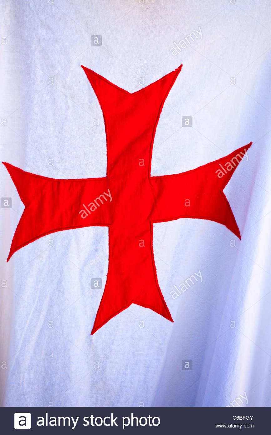Red knights Templar cross on a white background France Stock 866x1390
