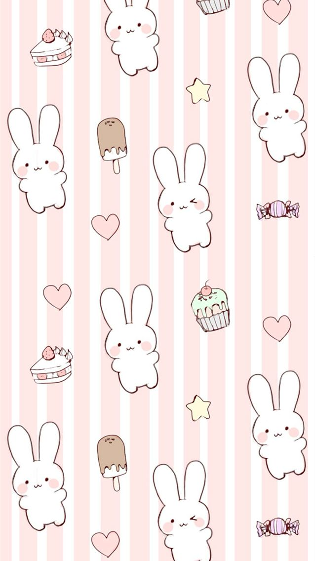 Cute kawaii bunny wallpaper background for iPhone 66s Headers 638x1136