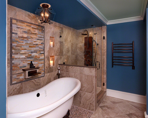 Small Contemporary Bath Design Photos with a Corner Shower and 500x400