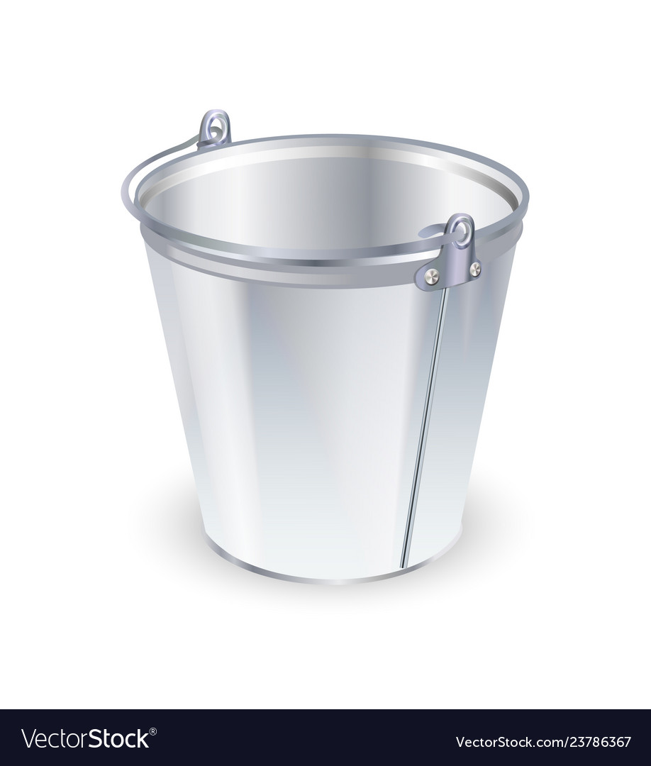 Empty metal bucket isolated on a white background Vector Image 918x1080