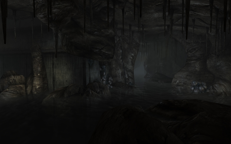 3d view dark underground rivers 1920x1200 wallpaper 3D Wallpaper 800x500