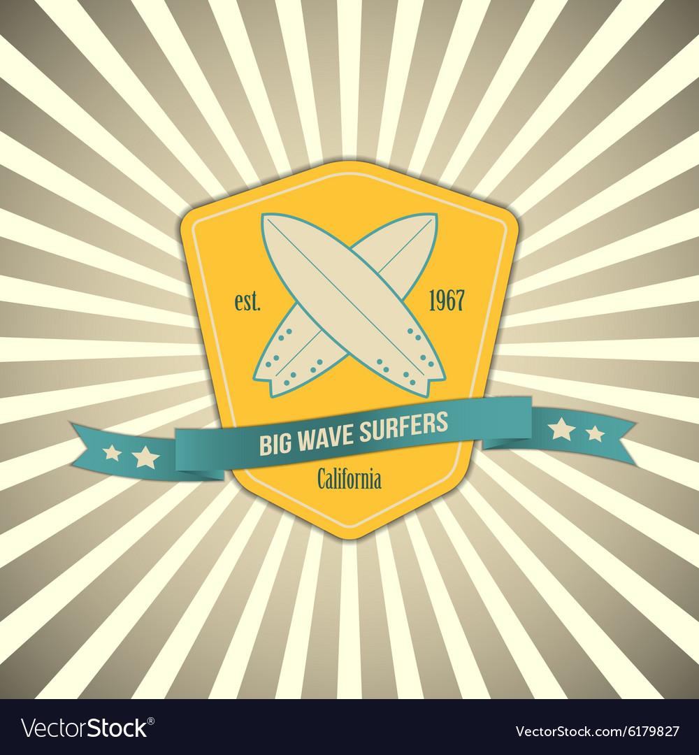 Surf badge on outburst background T shirt Vector Image 1000x1080