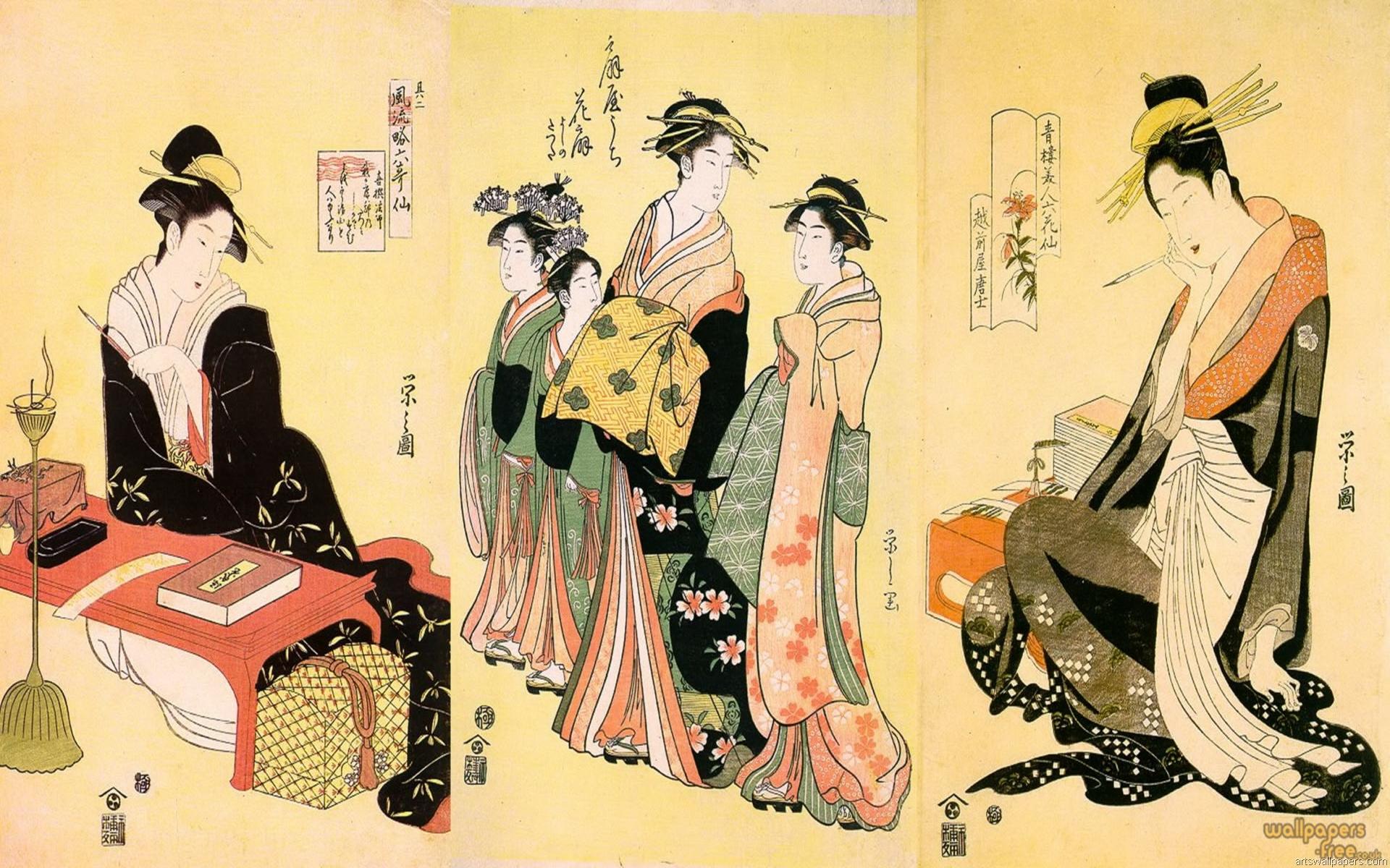 geisha girls walking and perform 1920x1200
