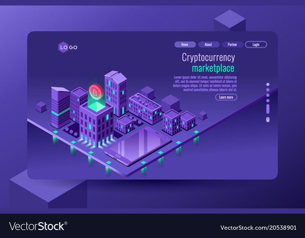 Isometric city violet wallpaper Royalty Vector Image 1000x780