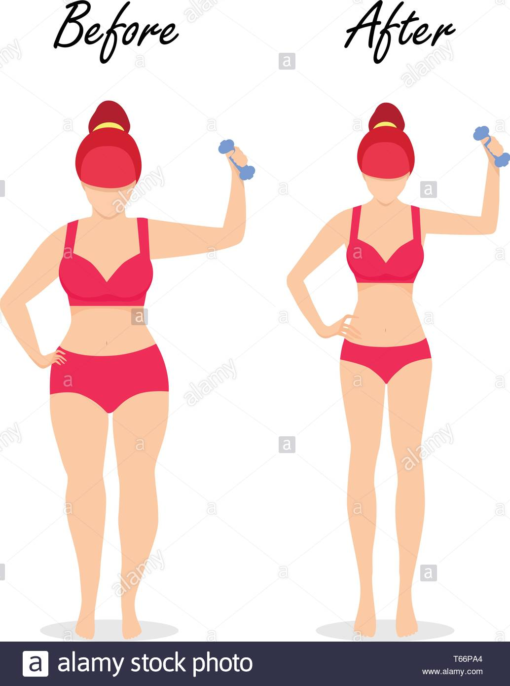 Fat Slim Woman Figure Weight Loss Set Before After Fit Girl with 1034x1390