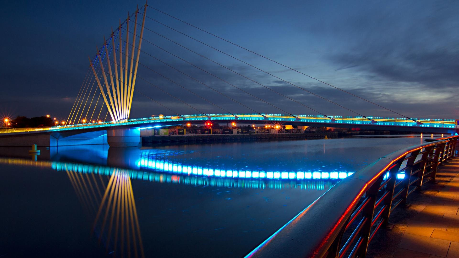 City Night Bridge Lights The Promenade Wallpapers   1920x1080   588624 1920x1080