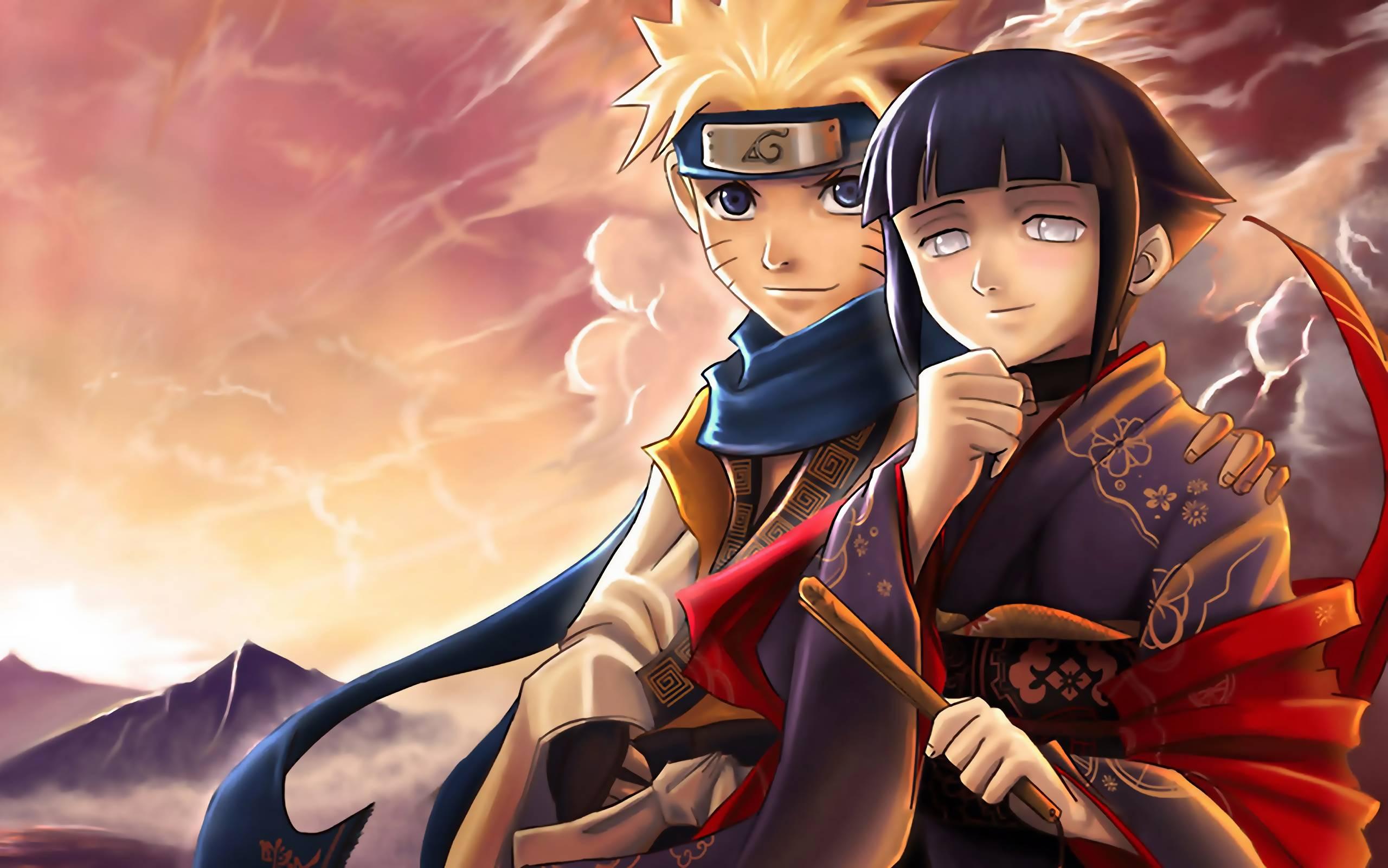 Download the Naruto anime wallpaper titled Hinata with Naruto 2560x1600