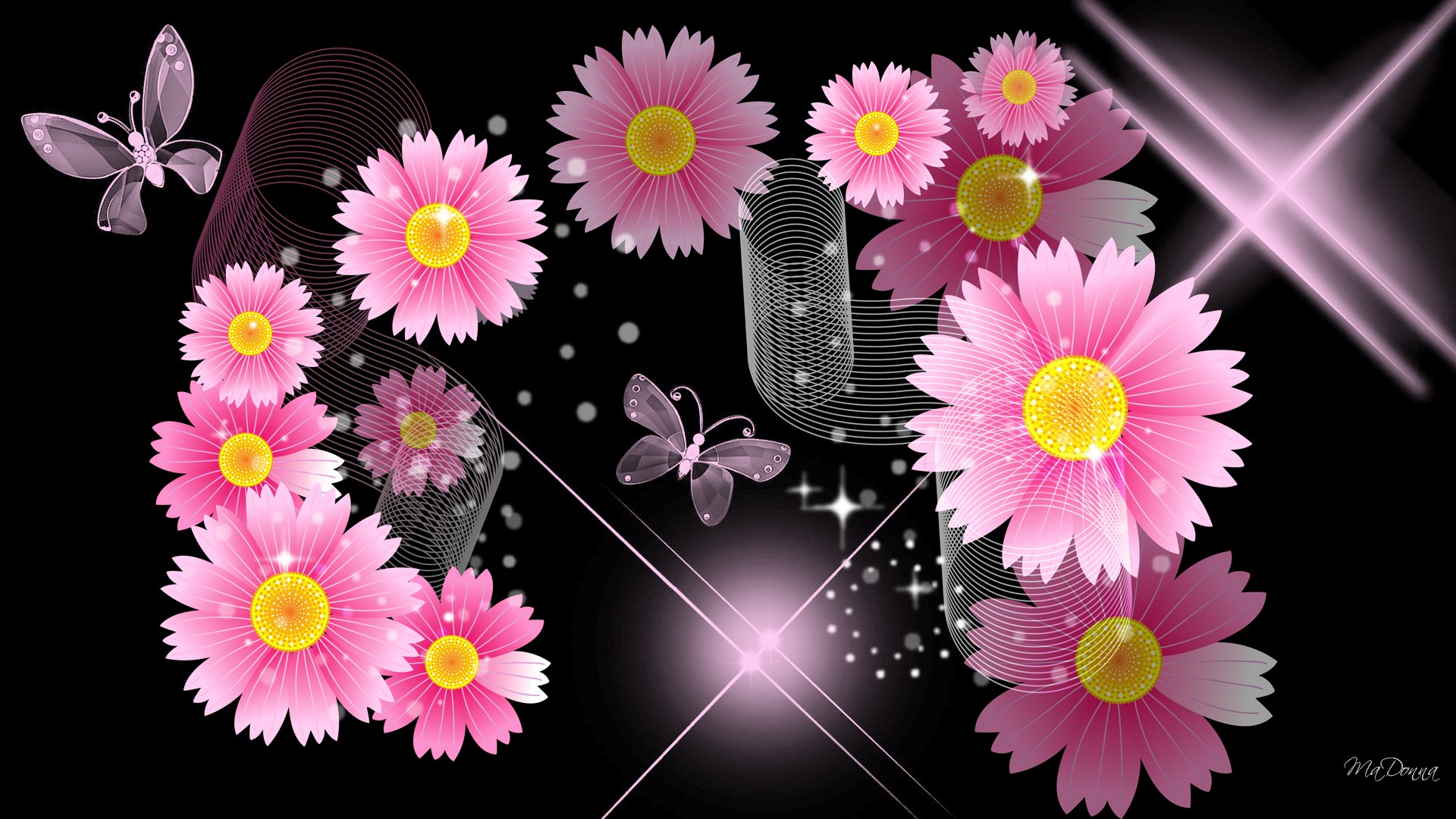 Download Black And Pink Flower Wallpaper HD Wallpapers and 1920x1080