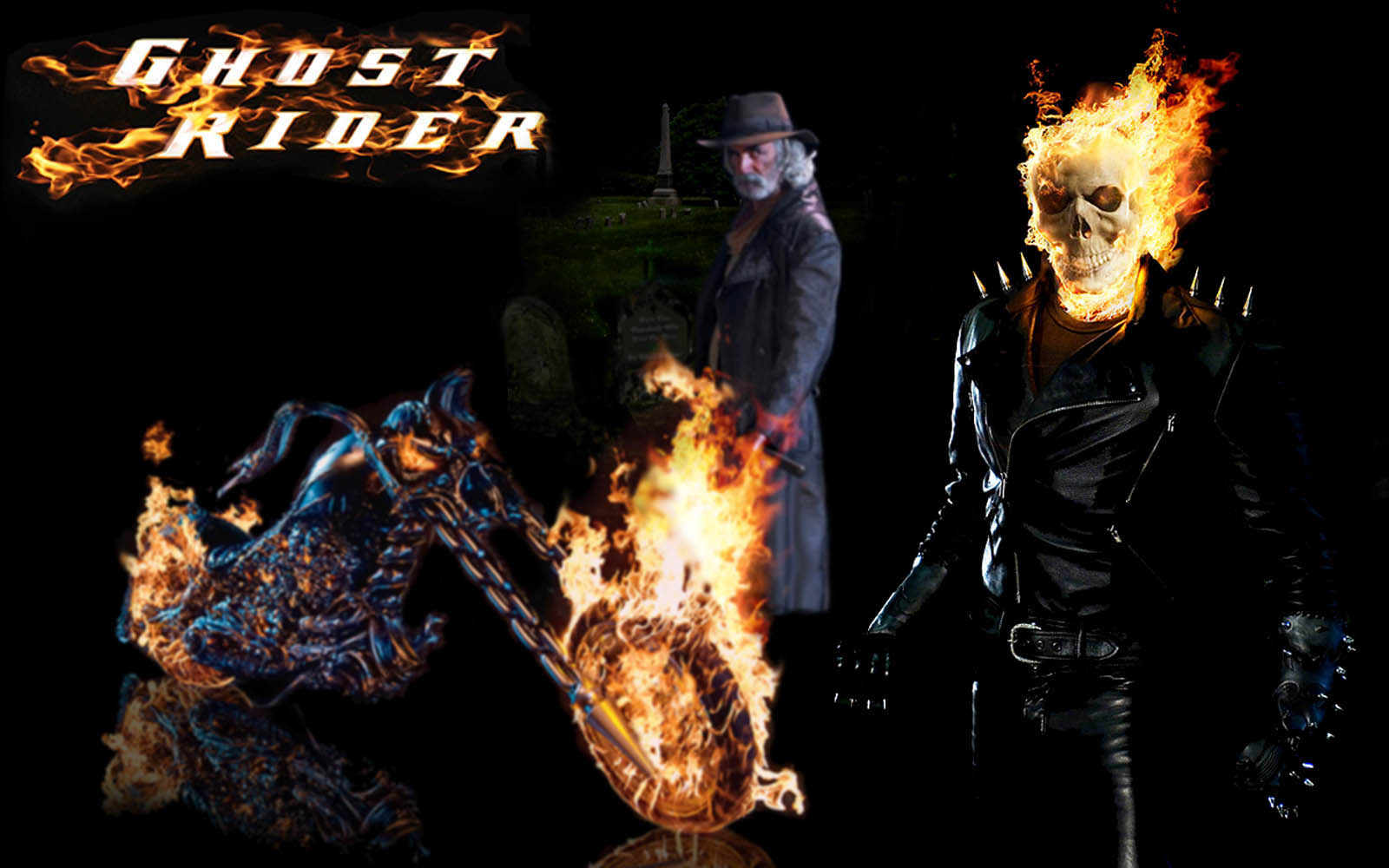 Ghost Rider Bike on Fire Wallpapers images 1600x1000