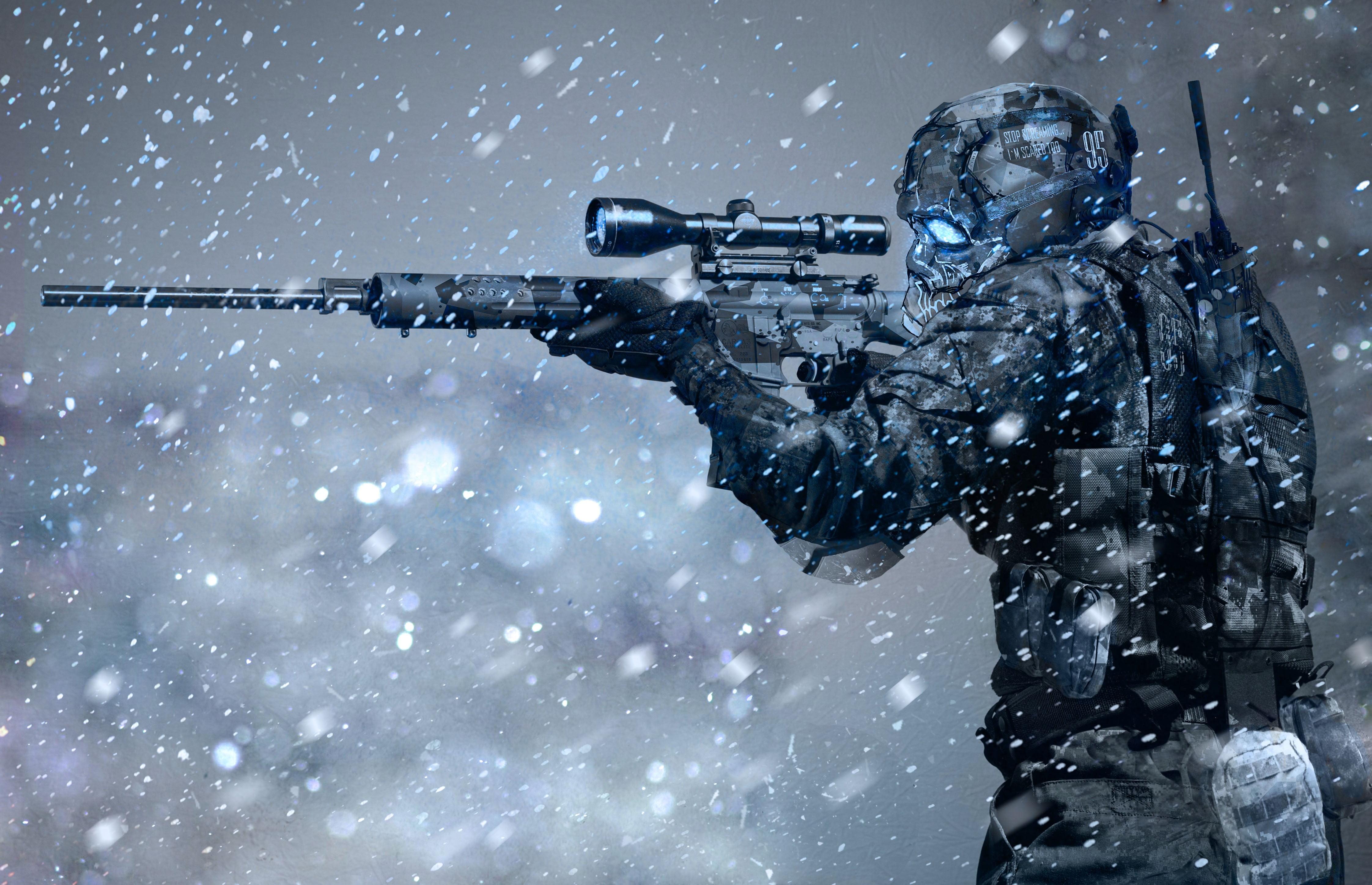 Man holding sniper rifle illustration HD wallpaper Wallpaper Flare 4488x2895