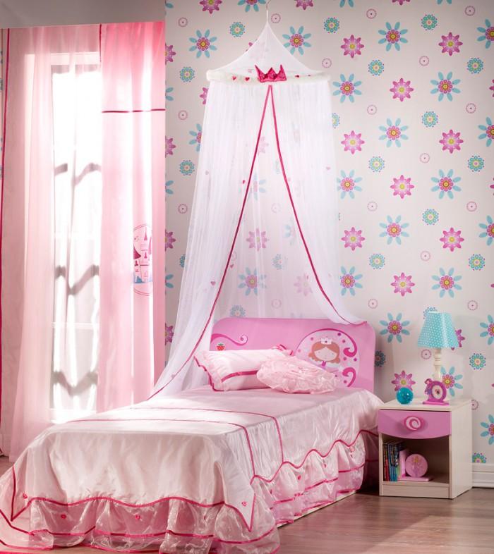 Pretty Pink Bedroom Floral Wallpaper Beautiful Tween Girl Bedroom 700x786