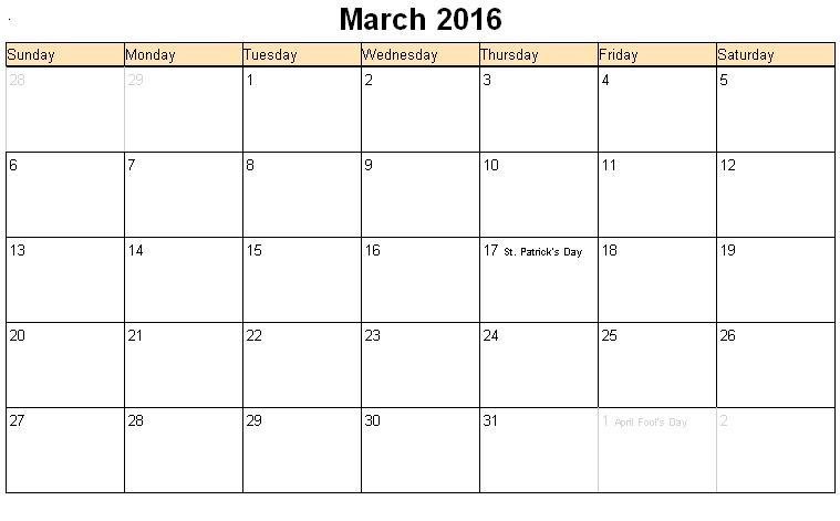 Best March 2016 Calendar Printable HD Wallpaper   httpyellowpics 759x471