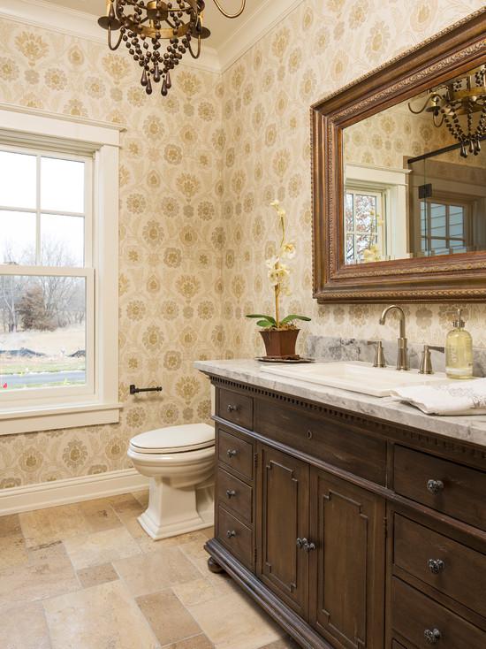 Bathroom Patterned Wallpaper Lake Elmo Greek Revival Farmhouse 550x734