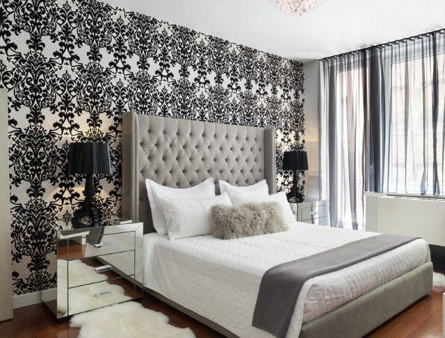 Download Wallpaper feature wall grey bedroom My Home Pinterest ...