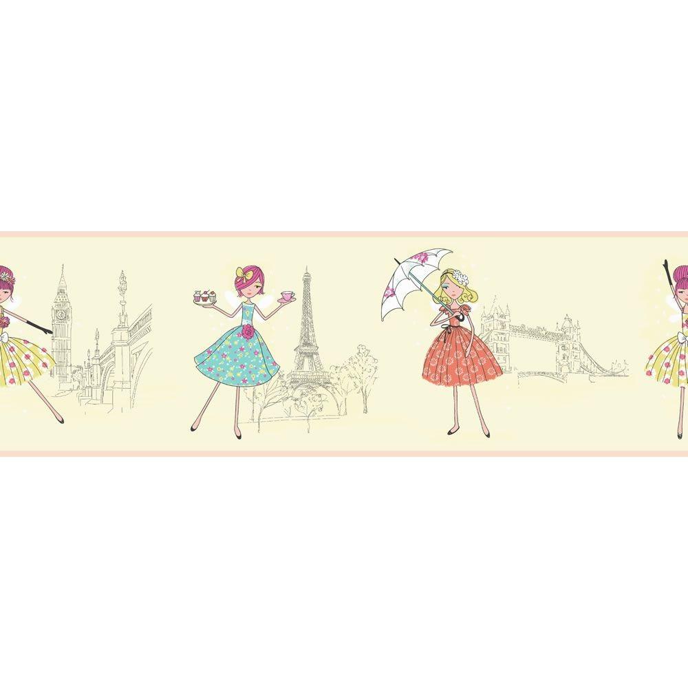 DLB07528   Vintage Fairies   London Paris   Hoopla Wallpaper BORDER 1000x1000