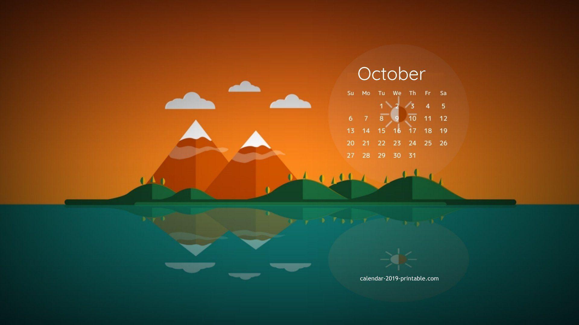 october 2019 calendar desktop wallpaper Calendar 2019 Wallpapers 1920x1080