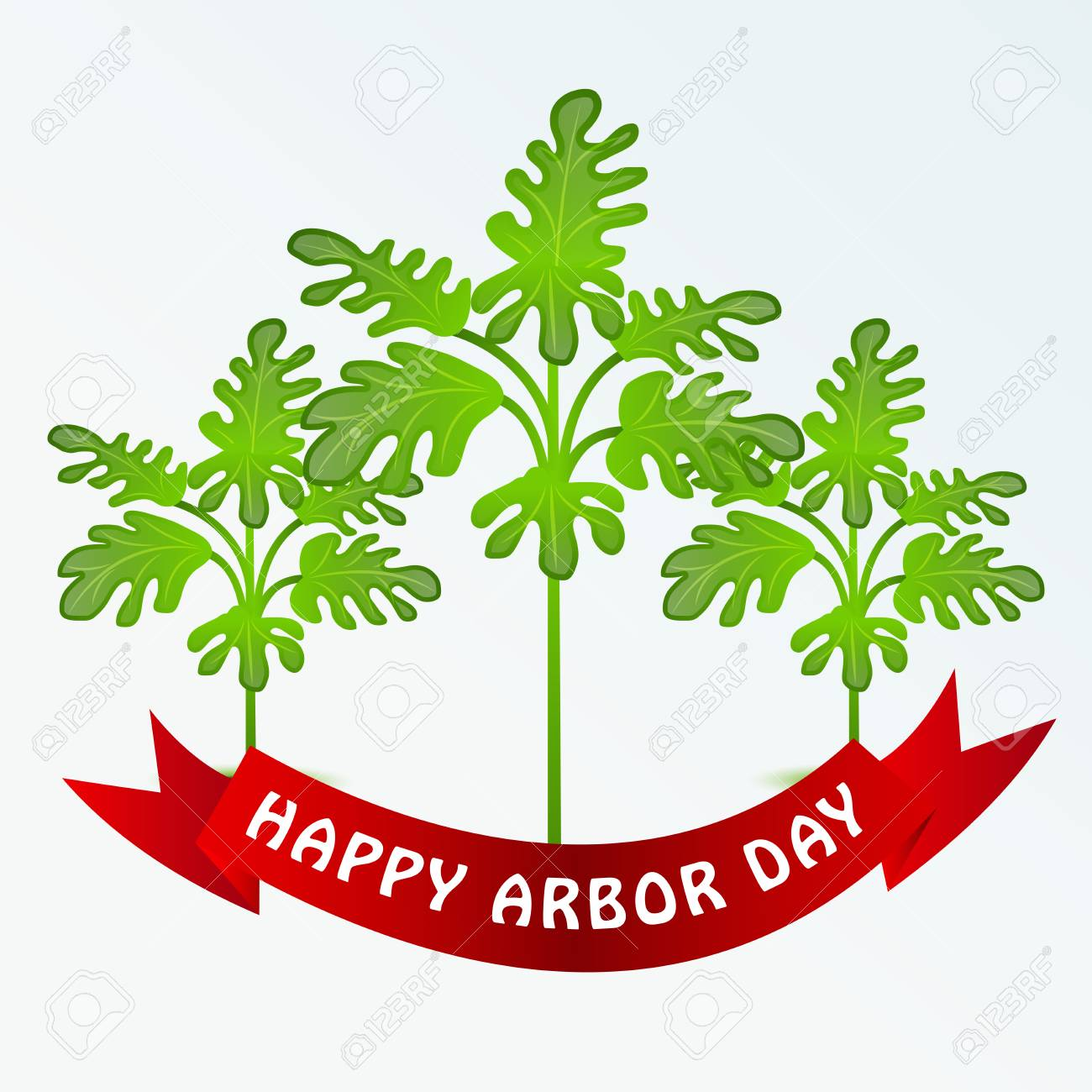 Happy Arbor Day With Tree Illustration On Light Background 1300x1300