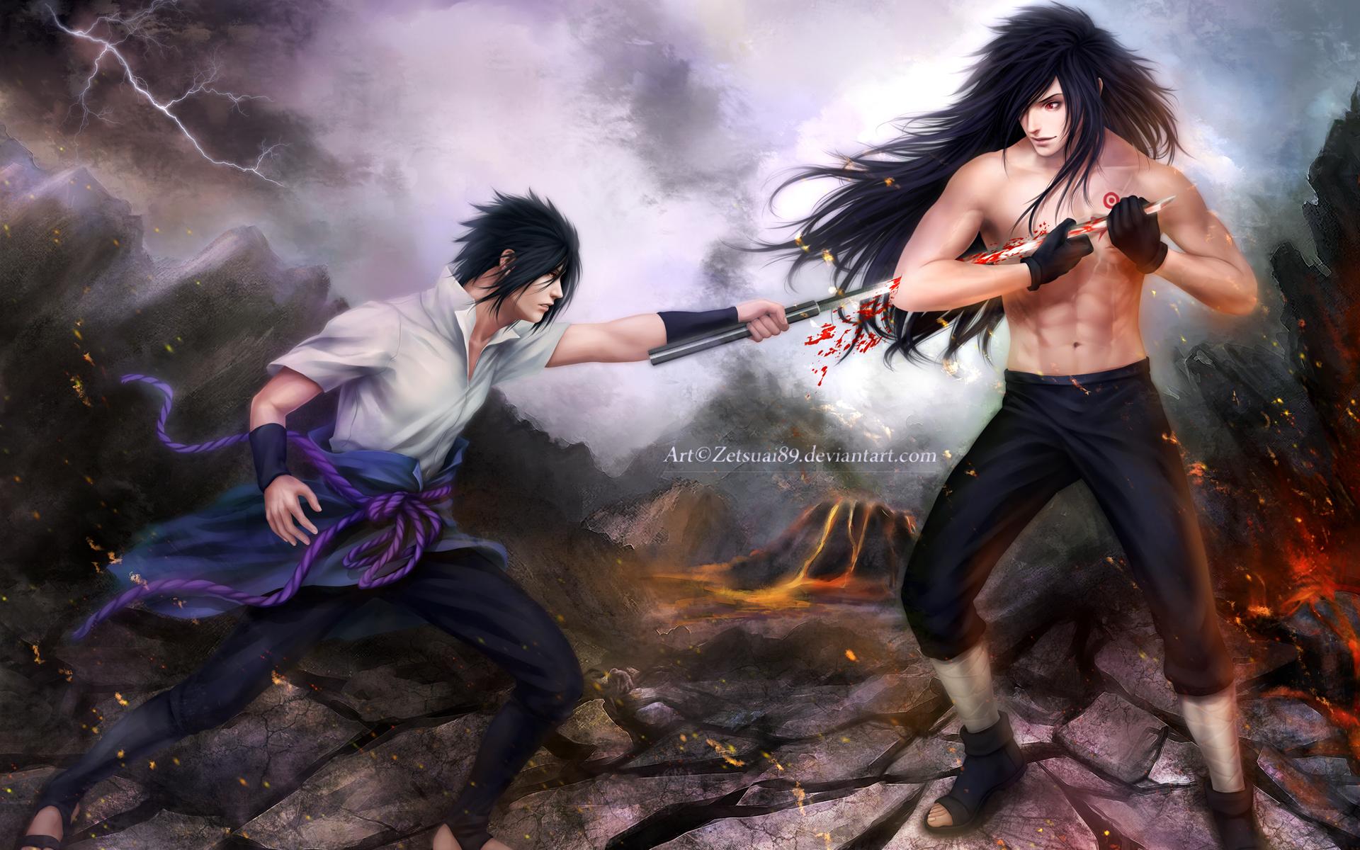 madara uchiha vs sasuke uchiha fighting anime hd wallpaper full 1920x1200