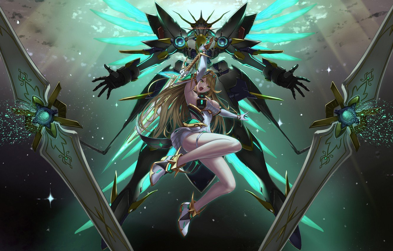 Wallpaper girl fantasy game cleavage anime mech weapons 1332x850