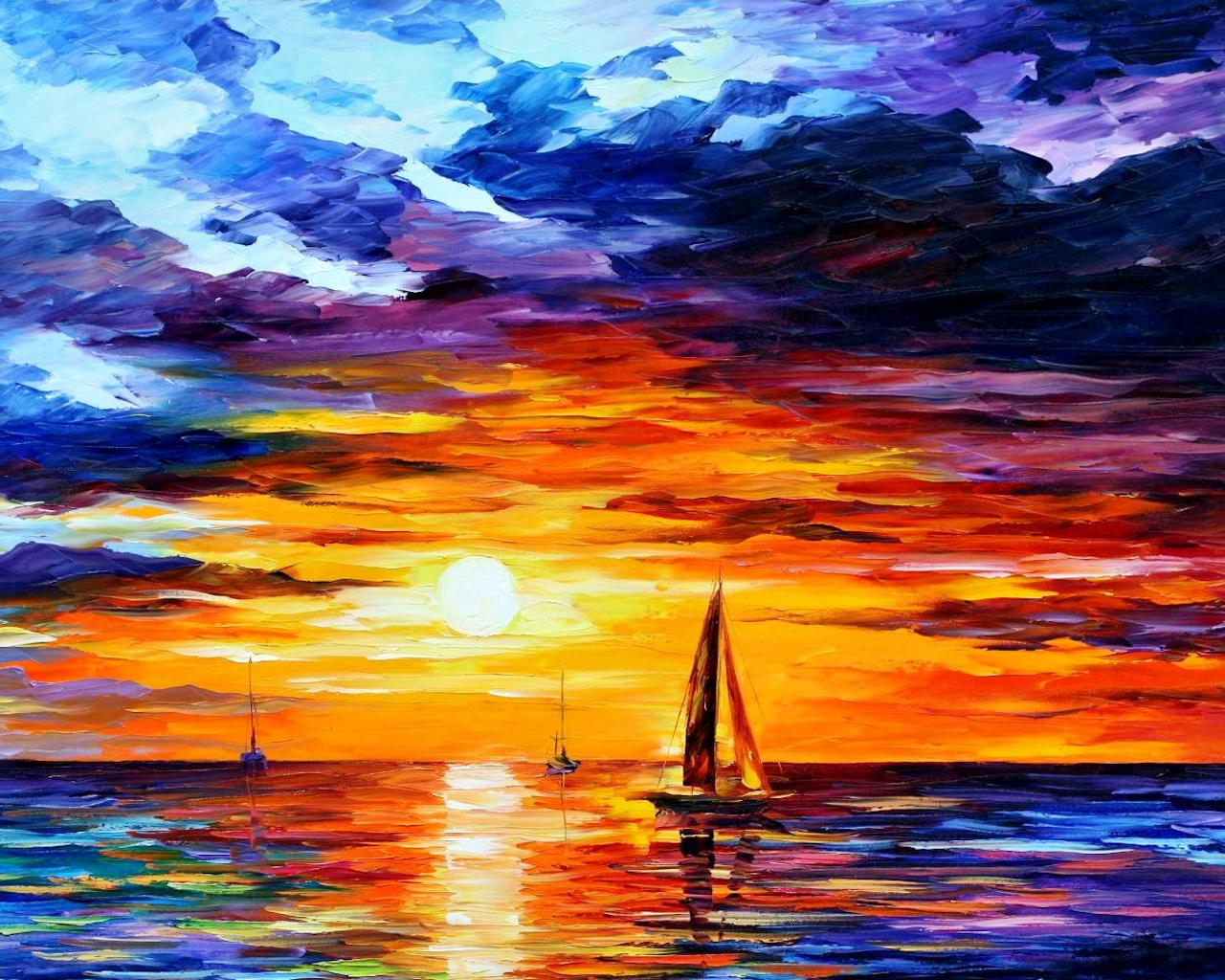Sunset Boat Leonid Afremov   Wallpaper 33300 1280x1024