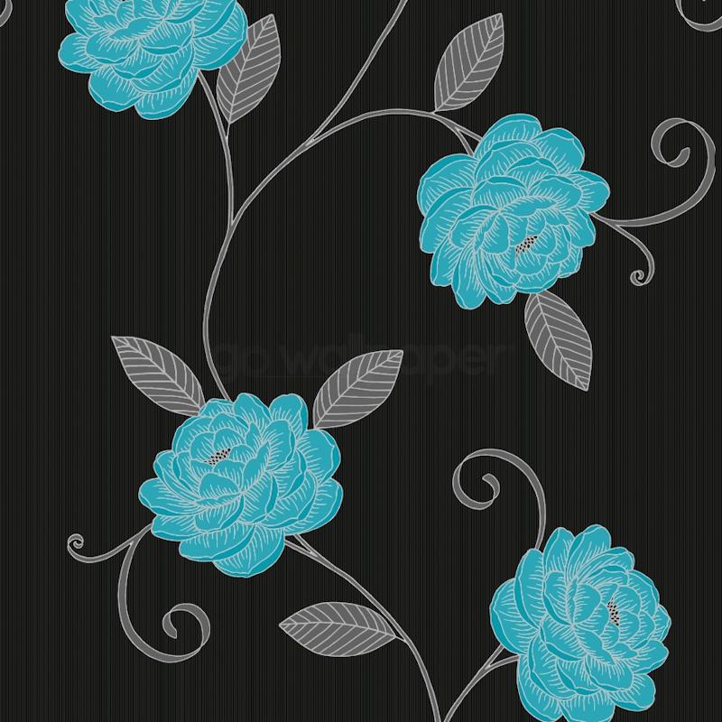 Teal Flower Wallpaper Wallpapersafari