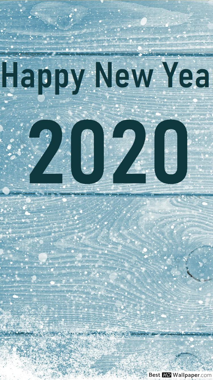 download Happy new year 2020 snow and pines HD wallpaper 750x1334
