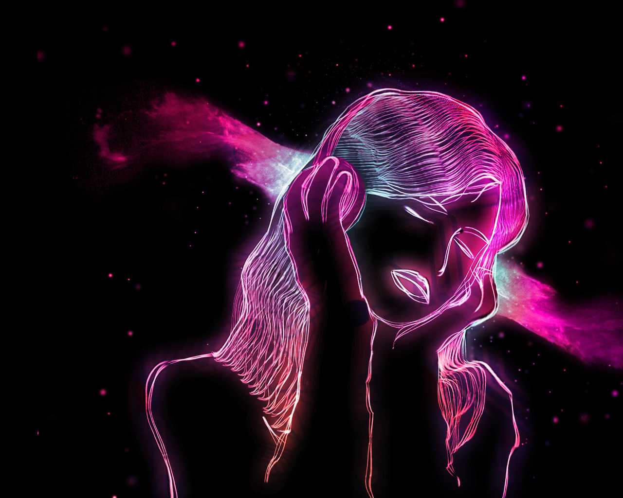 Neon Girl 3d wallpaper on your desktop wallpapers pictures 1280x1024
