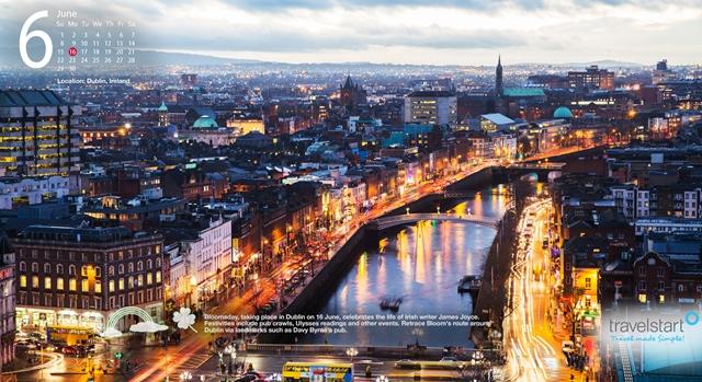 This months travel wallpaper features downtown Dublin Ireland 640x349