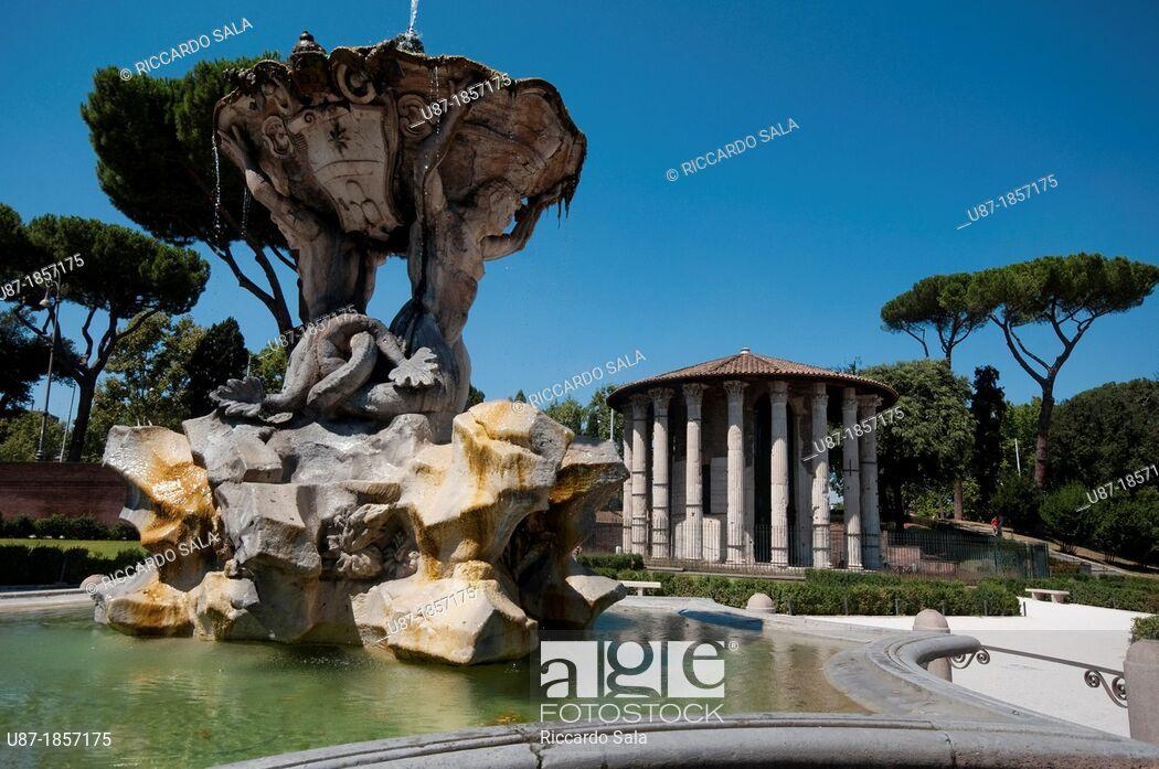 Italy Lazio Rome Bocca della Verit Square Triton Fountain by 1050x697