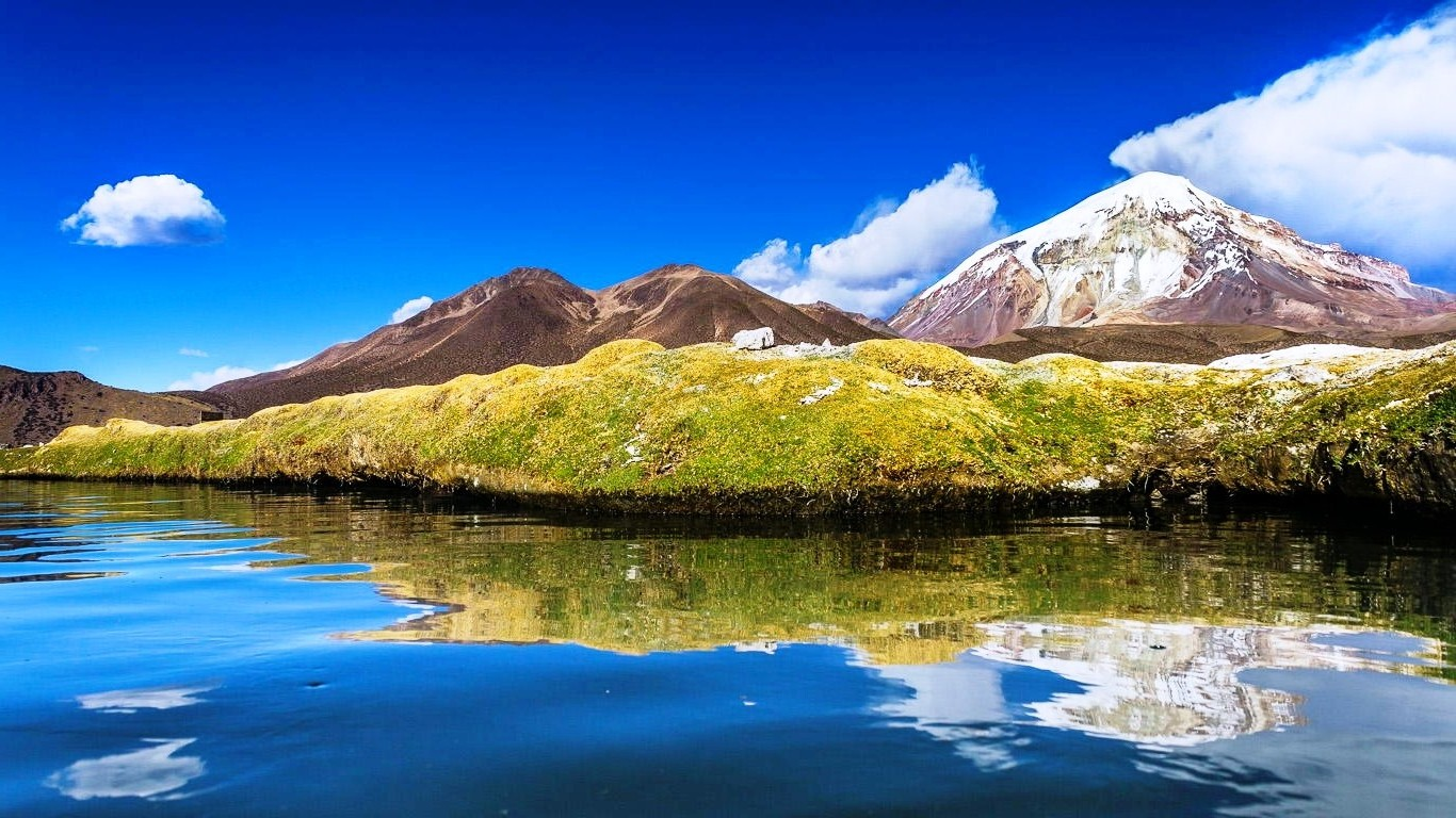 Bolivia Lake Mountain Water Clouds Snowy Peak Nature 1366x768