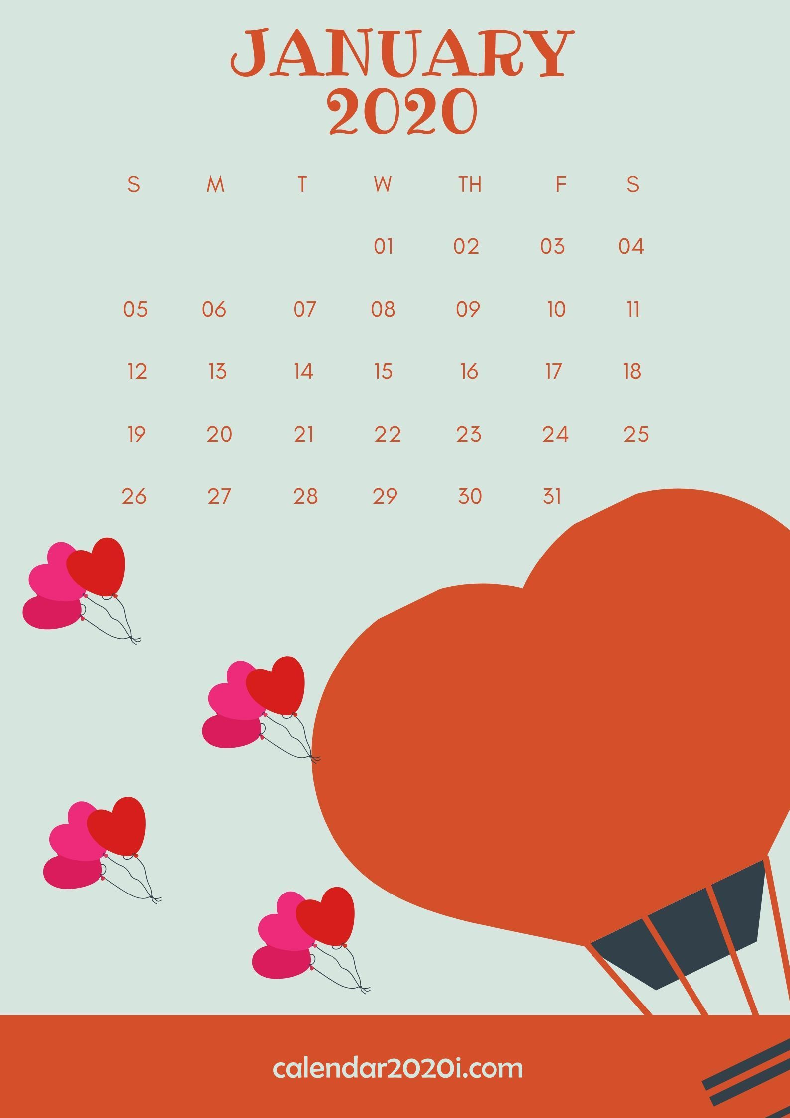 January 2020 Wall Calendar Printable Calendar wallpaper Monthly 1588x2246