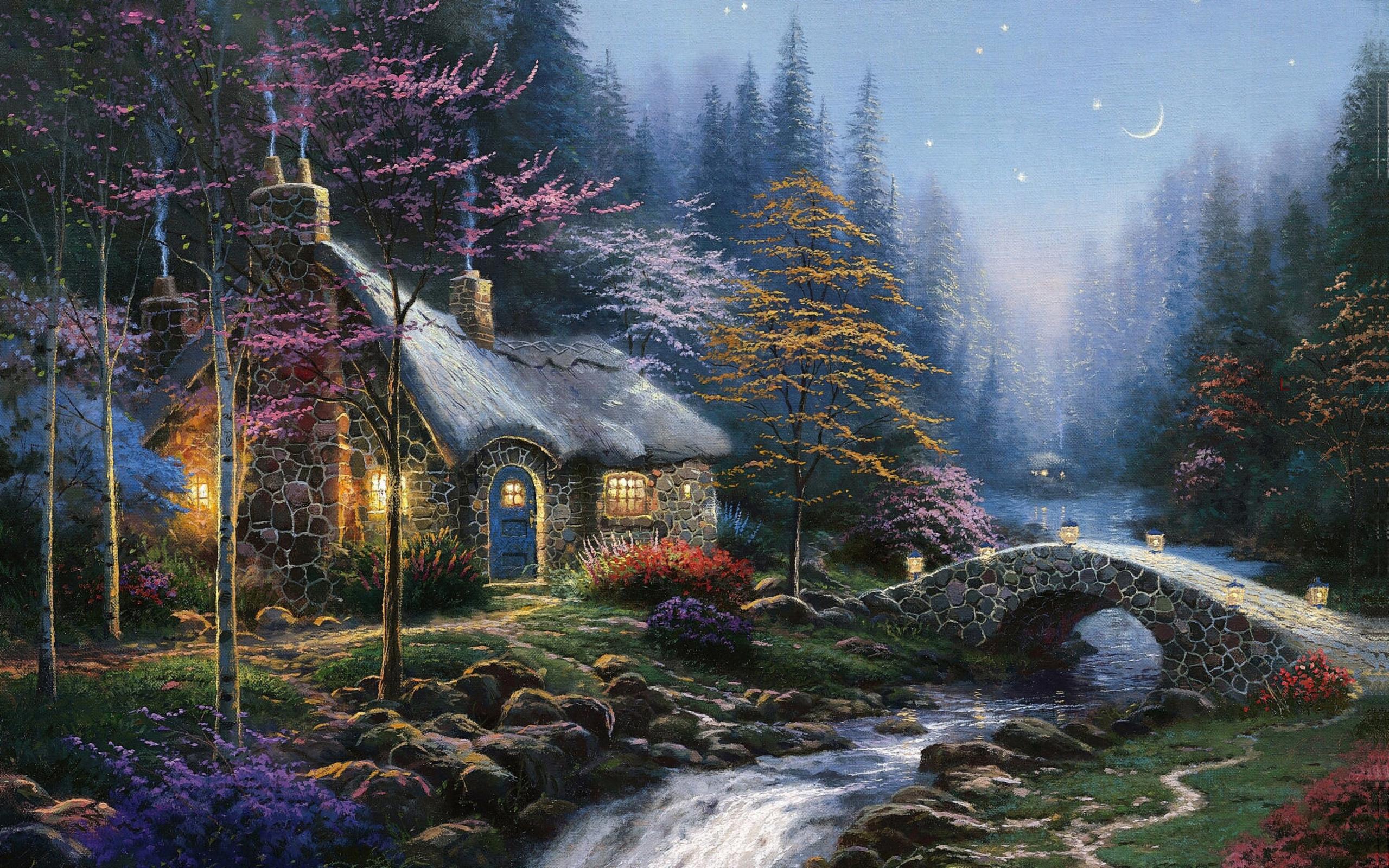 Wallpaper Thomas Kinkade art twilight moon stars forests spruce 2560x1600