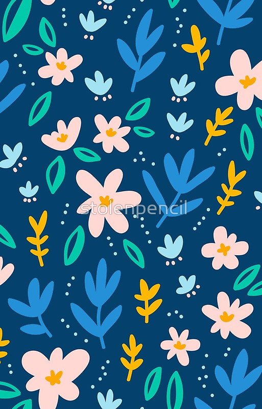 Colorful flowers on deep blue background iPhone Cases Skins by 513x800