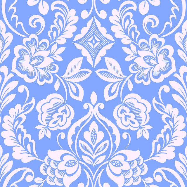 Brocade Bloom Damask Periwinkle Wallpaper Tiles traditional wallpaper 640x640