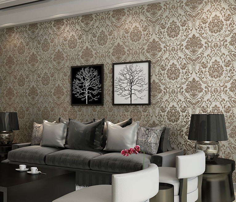 New Gilt Bronze Wallpaper Non Woven Damask European Vintage Wallpaper 767x658