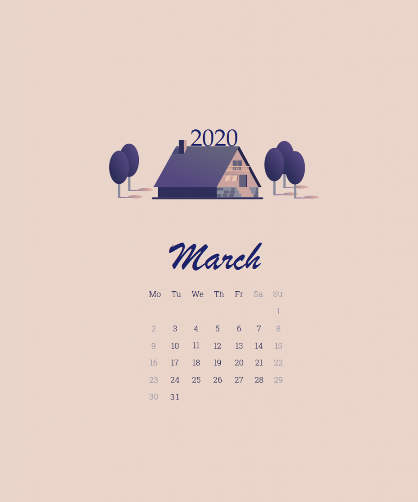 March 2020 Calendar Wallpaper For Desktop Laptop iPhone 852x1024
